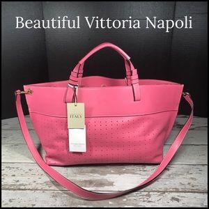 Vittoria Napoli Tote Bag Italian Leather Pink NWT